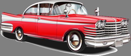 Наклейка «Красный кадиллак»Транспорт<br>Цветная интерьерная наклейка на виниле. Яркая и красивая! Можно сделать любой размер. Трехслойная надежная упаковка. Доставим в любую точку России.<br>