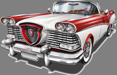 Наклейка «Бело-красный ретромобиль»Транспорт<br><br>