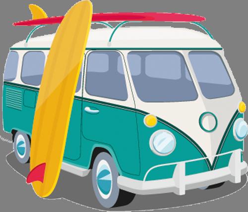 Наклейка «Автобус для сёрферов»Транспорт<br>Цветная интерьерная наклейка на виниле. Яркая и красивая! Можно сделать любой размер. Трехслойная надежная упаковка. Доставим в любую точку России.<br>