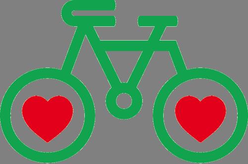 Наклейка «Велосипед с сердечками»