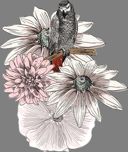 Наклейка «Птица на цветке»Цветы<br><br>