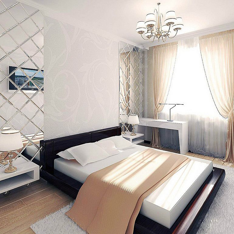 Спальни с зеркалами дизайн