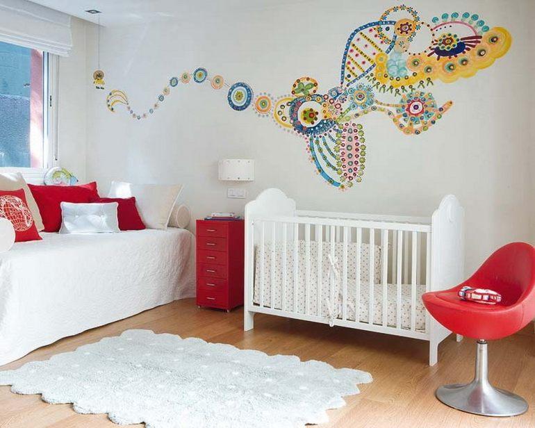 Оформление стены в детской спальне своими руками 99