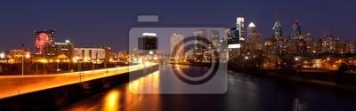 """Постер Города и карты """"Панорамный Skyline Филадельфии, ночь за ночью"""", 64x20 см, на бумаге от Artwall"""