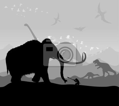 """Постер Животные """"Охота на животных в доисторические времена"""", 23x20 см, на бумаге от Artwall"""