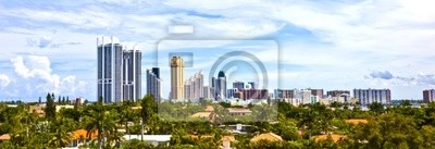 """Постер Города и карты """"Skyline в городе Майами, штат Флорида."""", 58x20 см, на бумаге от Artwall"""