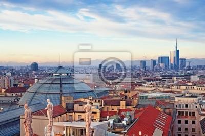 """Постер Города и карты """"Милан skyline от (""""Duomo di Milano""""). Италия."""", 30x20 см, на бумаге от Artwall"""