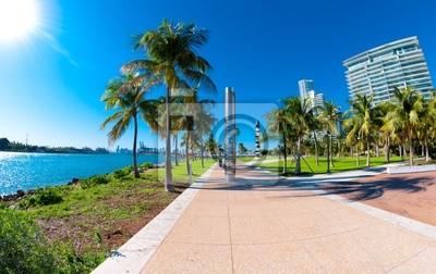 """Постер Города и карты """"Красивый парк, South Pointe в Майами-Бич, Флорида"""", 32x20 см, на бумаге от Artwall"""