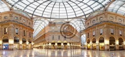 """Постер Города и карты """"Милан, галерея Vittorio Emanuele II, Италия"""", 44x20 см, на бумаге от Artwall"""