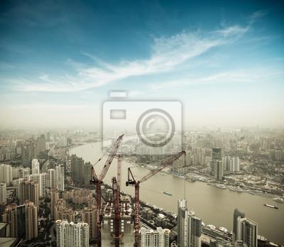 """Постер Города и карты """"Развития в Шанхае"""", 23x20 см, на бумаге от Artwall"""