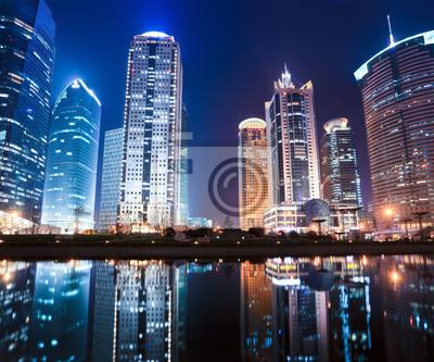 """Постер Города и карты """"Ночной вид Шанхайского финансового центра района"""", 24x20 см, на бумаге от Artwall"""