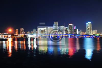 """Постер Города и карты """"Майами, ночная сцена"""", 30x20 см, на бумаге от Artwall"""