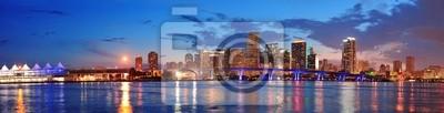 """Постер Города и карты """"Майами, ночная сцена"""", 78x20 см, на бумаге от Artwall"""