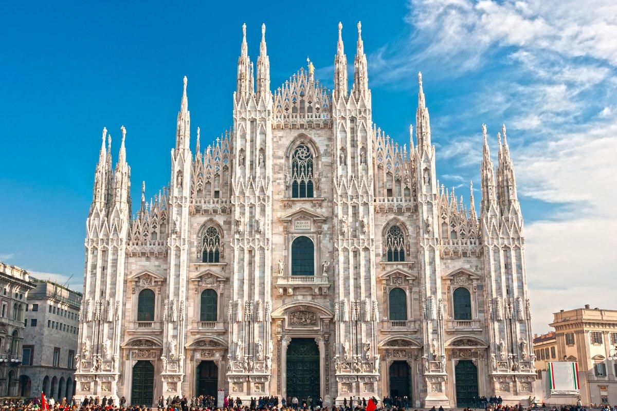"""Постер Города и карты """"Duomo Milan, Милан (собор), Италия."""", 30x20 см, на бумаге от Artwall"""