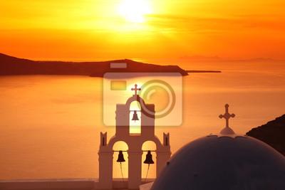 """Постер Города и карты """"Санторини с Традиционной церкви в Fira, Греция"""", 30x20 см, на бумаге от Artwall"""