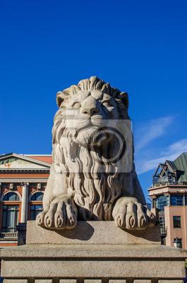 """Постер Города и карты """"Лев возле парламента Норвегии"""", 20x30 см, на бумаге от Artwall"""