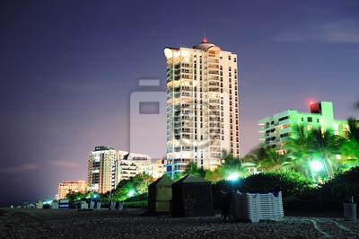 """Постер Города и карты """"South beach, Майами ночью"""", 30x20 см, на бумаге от Artwall"""