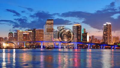"""Постер Города и карты """"Майами, ночная сцена"""", 35x20 см, на бумаге от Artwall"""