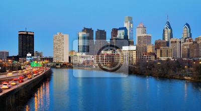 """Постер Города и карты """"Центре Филадельфии от Schuylkill Река"""", 36x20 см, на бумаге от Artwall"""