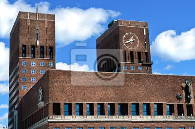 """Постер Города и карты """"City Hall (Торговой), Осло, Норвегия"""", 30x20 см, на бумаге от Artwall"""