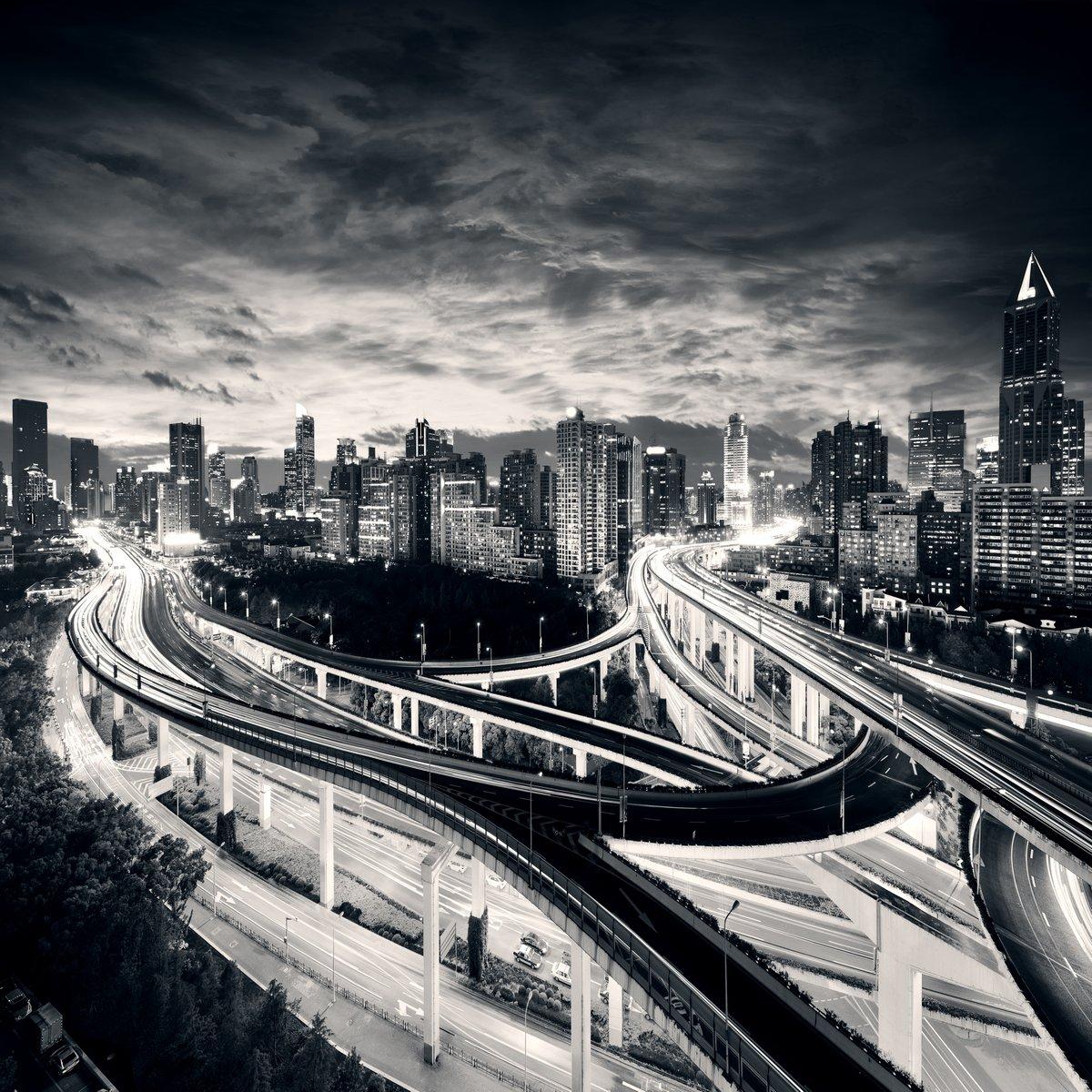 """Постер Города и карты """"Шанхай, Город на закате с легкой тропы"""", 20x20 см, на бумаге от Artwall"""