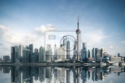 """Постер Города и карты """"Шанхай skyline с отражением"""", 30x20 см, на бумаге от Artwall"""