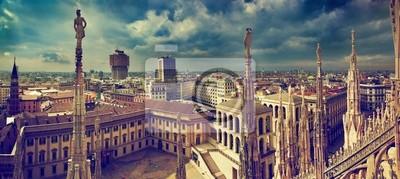 """Постер Города и карты """"Милан, Италия. Панорама города. Вид на Королевский дворец"""", 45x20 см, на бумаге от Artwall"""