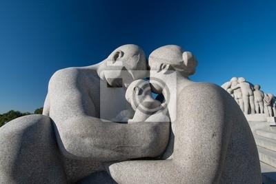 """Постер Города и карты """"Парк Вигеланд статуи семьи"""", 30x20 см, на бумаге от Artwall"""