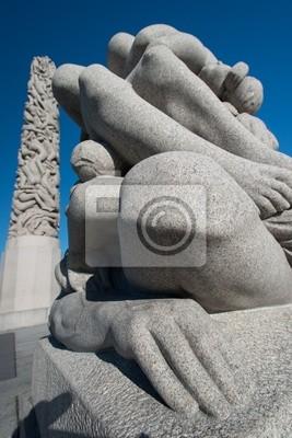 """Постер Города и карты """"Парк Вигеланд статуи колени"""", 20x30 см, на бумаге от Artwall"""