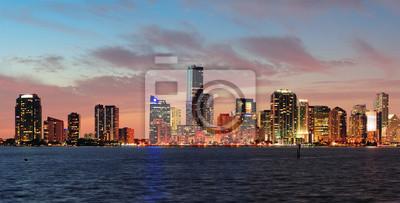 """Постер Города и карты """"Майами, ночная сцена"""", 39x20 см, на бумаге от Artwall"""