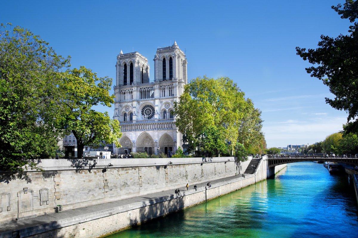 """Постер Города и карты """"Собор Нотр-Дам, Париж, Франция."""", 30x20 см, на бумаге от Artwall"""