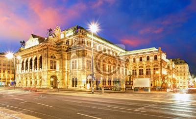 """Постер Города и карты """"Венская Государственная Опера ночью, Австрии, Театр"""", 33x20 см, на бумаге от Artwall"""