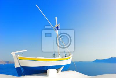 """Постер Города и карты """"УВР в остров Санторини, Греция"""", 30x20 см, на бумаге от Artwall"""