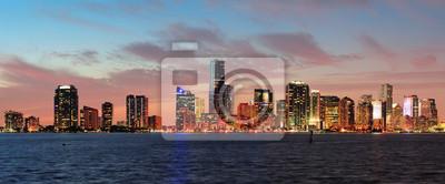 """Постер Города и карты """"Майами, ночная сцена"""", 48x20 см, на бумаге от Artwall"""