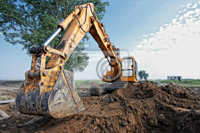 """Постер """"Экскаватор копает яму"""", 30x20 см, на бумаге от Artwall"""