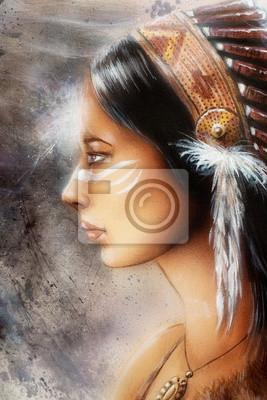 """Постер """"Аэрография покраска молодая индианка"""", 20x30 см, на бумаге от Artwall"""