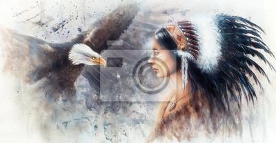 """Постер """"Красивая аэрография покраска молодая индианка одета в г"""", 39x20 см, на бумаге от Artwall"""