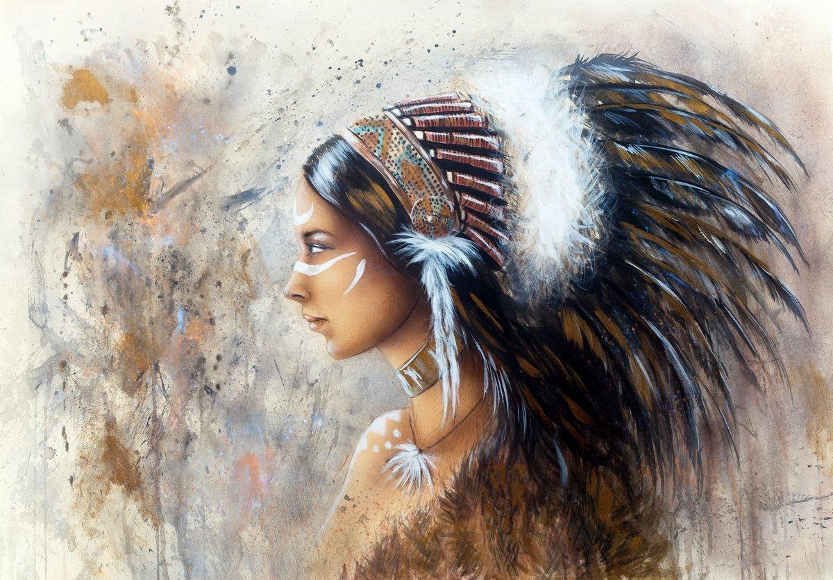 """Постер """"Красивая аэрография покраска молодая индианка одета в Би"""", 29x20 см, на бумаге от Artwall"""