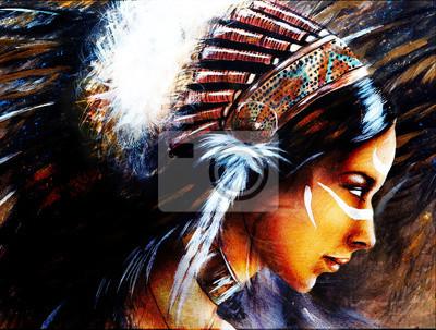 """Постер """"Красивая аэрография покраска молодая индианка одета в Би"""", 26x20 см, на бумаге от Artwall"""