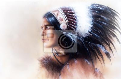 """Постер """"Красивый рисунок-молодой индийский воин одет в великолепный"""", 30x20 см, на бумаге от Artwall"""
