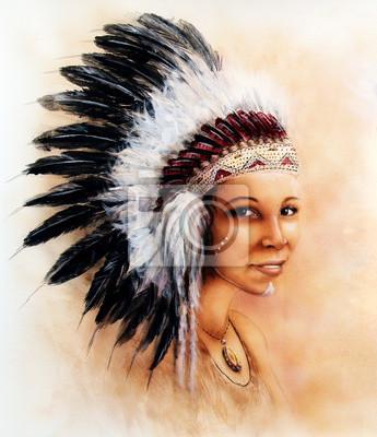 """Постер """"Иллюстрация картины молодая индианка одета в великолепный подвиг"""", 20x23 см, на бумаге от Artwall"""
