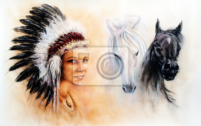 """Постер """"Красивая аэрография покраска молодая индианка одета в г"""", 32x20 см, на бумаге от Artwall"""