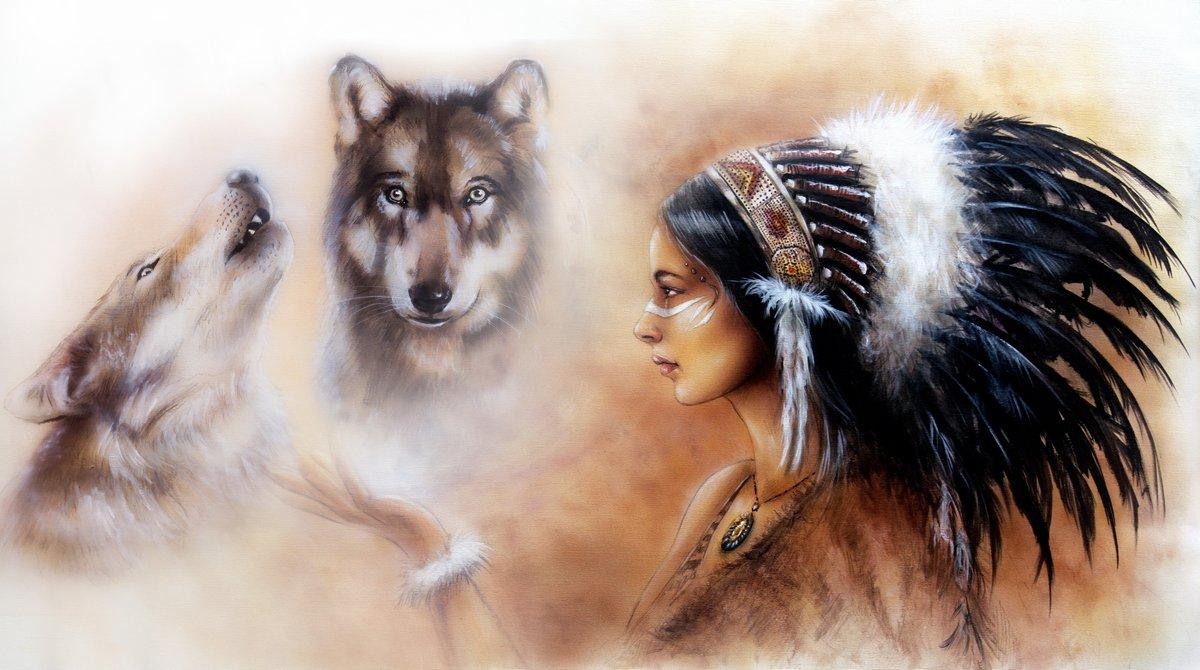"""Постер """"Покраска молодая индианка одета и двух Волков"""", 36x20 см, на бумаге от Artwall"""