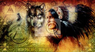 """Постер """"Один доллар коллаж с индусом воин с волком, орнамент """", 36x20 см, на бумаге от Artwall"""