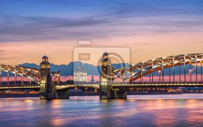 """Постер Города и карты """"Разноцветный закат над Смольным Со"""", 32x20 см, на бумаге от Artwall"""