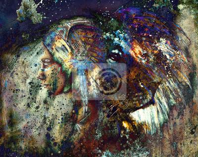 """Постер """"Индийские женщины носили головной убор из перьев с Львом и цвет абстрактный коллаж"""", 25x20 см, на бумаге от Artwall"""