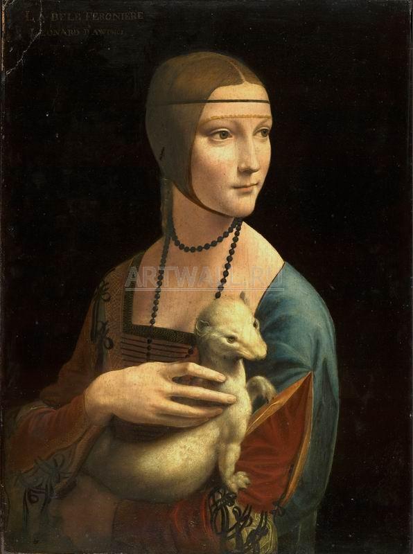 """Художники, картина """"Дама с горностаем"""", 20x27 см, на бумаге от Artwall"""