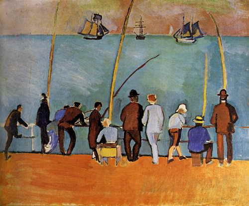 """Художники, картина """"Рыбаки с удочками"""", 24x20 см, на бумаге от Artwall"""