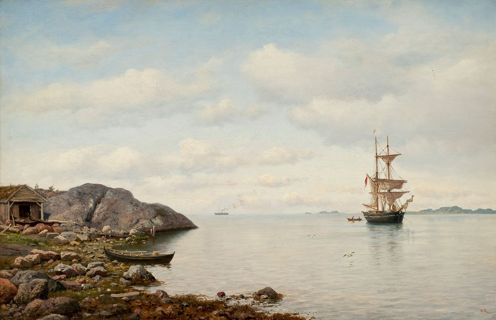 """Пейзажи """"Клейнех Оскар, Парусник у побережья"""", 31x20 см, на бумаге от Artwall"""