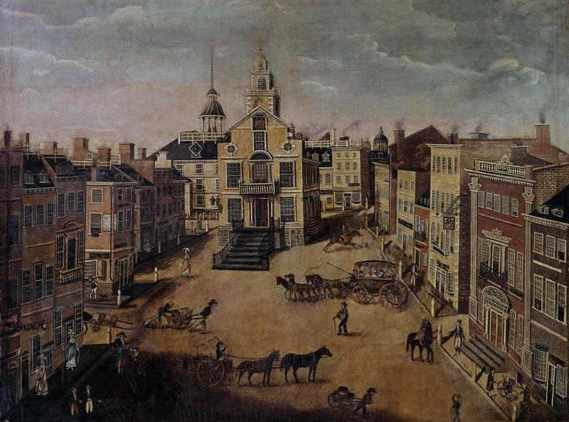 """Пейзажи """"Марстон Джеймс Браун, Старое здание парламента Бостона"""", 27x20 см, на бумаге от Artwall"""